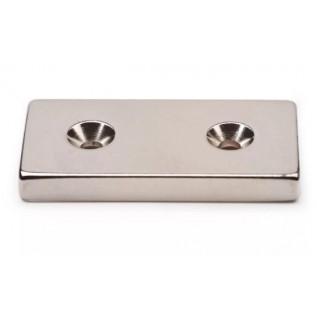 Магнит c зенк 40х10х5 7/3,5 мм -N сила сцепления: 8 кг
