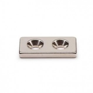 Неодимовый магнит призма 25х12х3 мм с двумя зенковками 3,5/7 мм сила сцепления: 2,22 кг